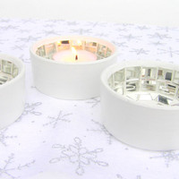 White candle holder winter ice icy home decor dreamy mirrored mosaic set of 3
