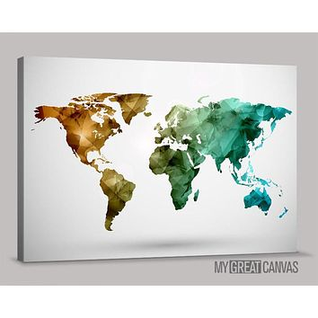 Colorful World Map Canvas Prints Large Wall Art Map Canvas Large Size World Map Canvas Painting