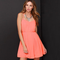 Orange Adjustable Spaghetti Strap Pleated Mini Dress