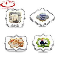 4pcs / lot European Wedding Frame Metal Cookie Cutters Biscuits Stainless Steel Tools Kitchen Baking Mould