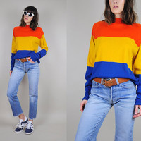 vtg 70's COLORBLOCK bold stripe SWEATER rainbow hippie Jumper mod boyfriend slouchy unisex