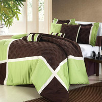 Quincy Green Comforter Bed In A Bag Set with Sheet Set 12 Piece