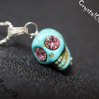 Cuteness Turquoise Skull Necklace Tiny Silver Children Jewelry