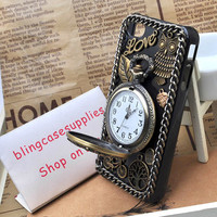 2013 New style Bronze Circular Watch / Clock   case  for  iphone 5 or 4s/4 hard cover by handmade