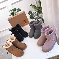 UGG Hot Sale Fashion Ladies Bow Fringed Mid-cut Snow Boots Shoes
