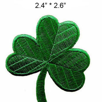 Sewing iron on letters Irish clover Dark Green logo patch for lucky