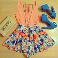 women new 2016 jumpsuit orange floral printed  2 piece jumpsuits and romper summer sleeveless playsuit feminino macacao
