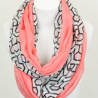 Hexagon Print Infinity Scarf, Coral Infinity Scarf, Light Weight Scarf, Womens Scarfs, Coral Scarves, Spring And Summer Scarves