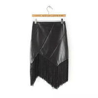 Black Faux Leather Fringed Asymmetrical Skirt