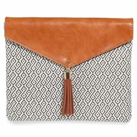 ESCALES patterned cognac-coloured cotton clutch | Maisons du Monde