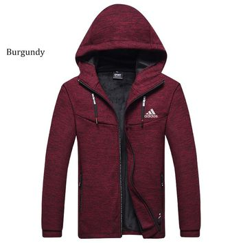 ADIDAS autumn and winter long-sleeved plus velvet thick warm hooded jacket Burgundy