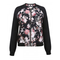 New Women Casual Multicolor O-Neck Floral Print Zipper Long Sleeve Jacket