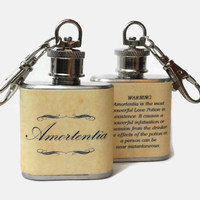 Stainless Steel Hip Flask - Amortentia Potion with Warning Label on the Back - Harry Potter Powerful Love Potion -4oz 6oz 2oz 1oz