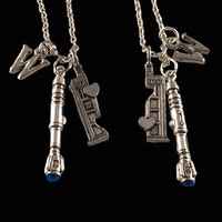 Doctor Who Phone Booth Double Heart Friendship Necklace, Sci Fi, Time Traveler