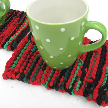 Mini Snack Mats Christmas Brights (set of 2) Red Black Green Retro Log Cabin Knitted Mug Rugs Upcycled T Shirts -US Shipping Included