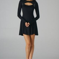 Black Long Sleeve Fit and Flare Dress with Cutout Neck