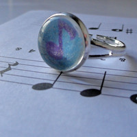 Silver Glitter Music Note Ring - Gifts for Her - Gift Under 10