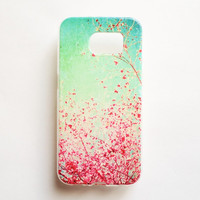 Samsung Galaxy S6 Flower Cherry Blossom Case Soft Plastic Galaxy S6 Back Floral Samsung S6 Cover