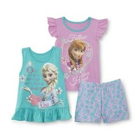 Frozen Toddler Girl's Top, Tank Top & Shorts