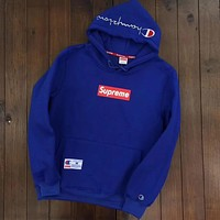 Champion X Supreme Fashion Women Men Embroidery Long Sleeve Top Sweater Pullover Hoodie(7-Color) Blue