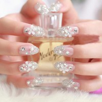 3D Bride Wedding False Artificial Fake Nails Tips French Stud Finger Stickers Flower White Pearl Nail Art Women Beauty Tools