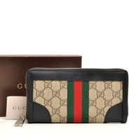 Authentic GUCCI leather GGold Platedlat's Zip Around Long Wallet 388386