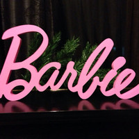 Barbie doll Barbie sign nursery decor wood sign wooden letters home decor kids room, baby name, wall hanging, wall decor, wall sign