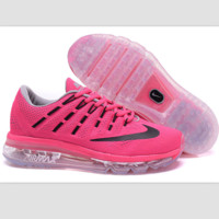 """NIKE"" Trending Fashion Casual Sports Shoes AirMax Toe Cap hook section knited Roses Black hook Transparent soles"