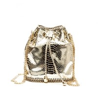 Luxury Golden & Silver Serpentine Small Bucket Chain Shoulder Backpack Bag