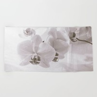 White Orchid Flower Beach Towel by Cinema4design