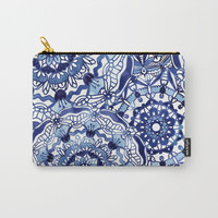 Delft Blue Mandalas Carry-All Pouch by noondaydesign
