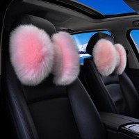 Genuine Sheepskin Fur Bow Shaped Warming Car Seat Headrest Pillow