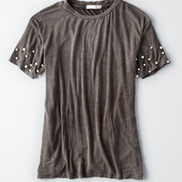 Don't Ask Why Faux Pearl T-Shirt, Black
