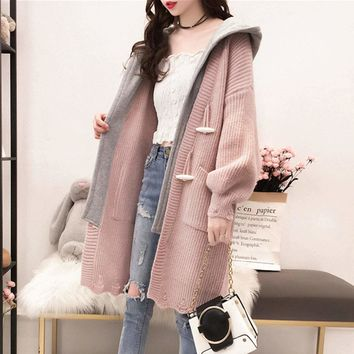 Womens Layered Look Hooded Cardigan