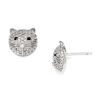 Cheryl M Sterling Silver Black And White CZ Cat Post Earrings