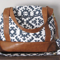 Overnighter Bag in White and Gunmetal gray aztec with mustard lining - diaper bag - travel bag - duffel bag