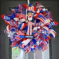 Last One! Summer Wreath, July 4th Wreath, Fourth of July Wreath, Summer Decoration, Door Hanger, Wreath for Summer, Ready to Ship