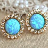 Blue Sky Opal stud earrings with white rhinestones, bridesmaids jewelry, wedding jewelry ,Opal earrings - 14k gold plated swarovski earrings