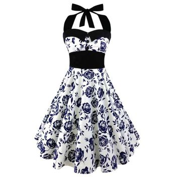 2017 Summer S-5XL Large Size Printed Dress Women Punk Strapless Halter Party Dresses Bowknot Self Gothic Vestidos Clothing Swing