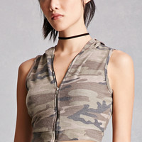 Camo Cropped Hoodie Vest