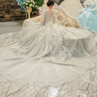 Light Gray Wedding Dresses Delicate Floral Crystal Empire Bridal Dress Sheer Back Wedding Gowns Custom Any Size