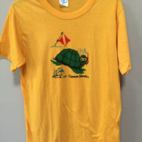 Yellow Vintage Tshirt, Cayman Islands Tee Shirt, Snorkling Turtle Tshirt Mustard Yellow Tshirt Short Sleeve Vintage Tee Shirt Scuba Diving L