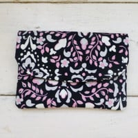 Fabric Wallet, women's wallet, card holder, wallet black, velcro closure, hand sewn, ready to ship, floral wallet, women's accessory