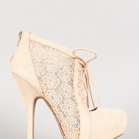 Qupid Onyx-184 Crochet Lace Up Platform Bootie