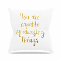 "NL Designs ""Amazing Things"" Gold White Throw Pillow"
