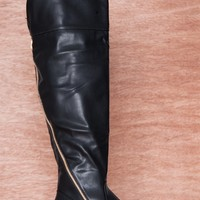 NY VIP Zipline Kick Line Asymmetric Gold Zipper Over The Knee Boots B101 - Black