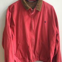 vintage 90s polo ralph lauren washed out red bomber jacket / large