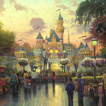 Ultimate Disney Collection Disneyland 50th Anniversary Thomas Kinkade Oil Paintings Giclee Art Print On Canvas 16X24 inch no frame