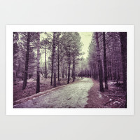 The forest road. Retro Art Print by Guido Montañés