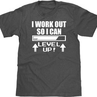 I Work Out So I Can Level Up T Shirt, Video Game T Shirt, Level Up Tshirt, Geeky Exercise T Shirt, Funny T Shirt, Geek Tee, Mens Plus Size
